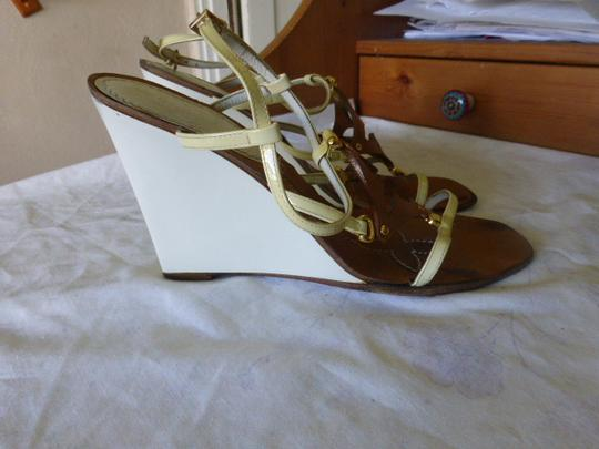 Louis Vuitton WHITE HEEL, LT YELLOW STRAP BROWN Wedges Image 5