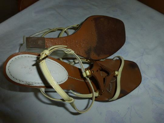 Louis Vuitton WHITE HEEL, LT YELLOW STRAP BROWN Wedges Image 6