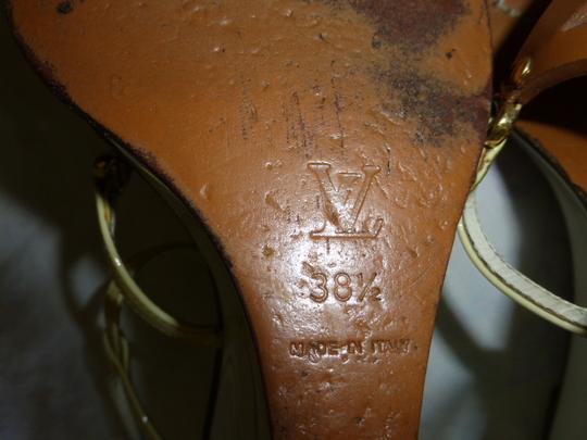 Louis Vuitton WHITE HEEL, LT YELLOW STRAP BROWN Wedges Image 7