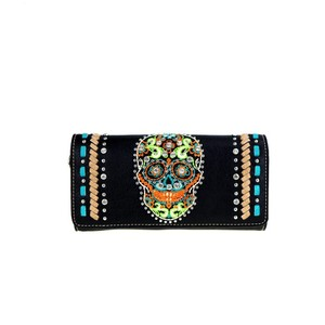 Montana West Black Leather Skull Collection Wristlet Wallet Clutch