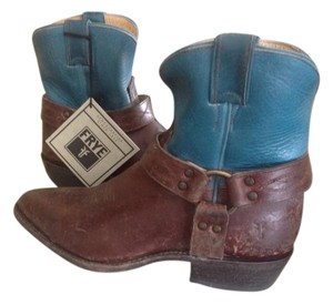 Frye Billy Harness Short Turquoise/brown Leather Turquoise/Brown Distressed Boots