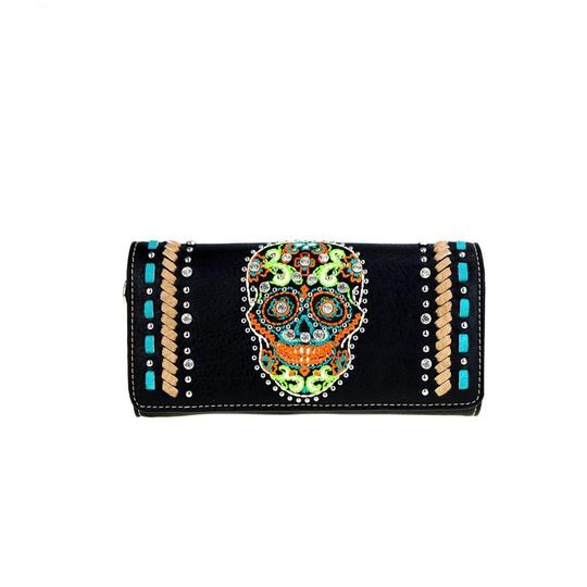 Preload https://img-static.tradesy.com/item/20872731/montana-west-black-multicolor-leather-skull-collection-wristlet-clutch-wallet-0-0-540-540.jpg
