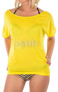 Just Cavalli Cover-up Shirt Fancy Off Pink T Shirt Yellow