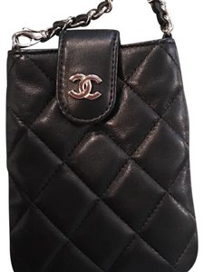 Chanel Mini Silver Flap Quilted Chain Black Clutch