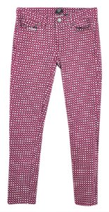 J.Crew Factory Geometric Dyed Red And White Skinny Jeans