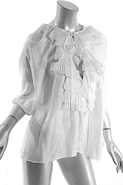 Givenchy Ruffles Pleated Easter Top White Image 3
