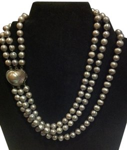 Other estate tahitian silver pearl 3 strand necklace