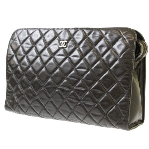 Chanel Wallet Camellia Quilted Black Clutch