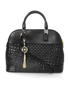 Versace Nappa Athena Barocco Quilted Satchel in Black