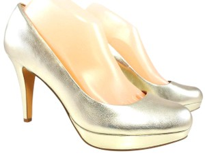 Circa Joan & David Leather Sparkle Platform Light Gold Pumps