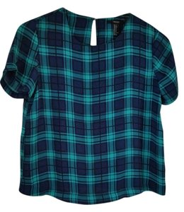 Forever 21 Plaid Top Blue and Green