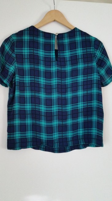 Nordstrom Plaid Top Blue and Green
