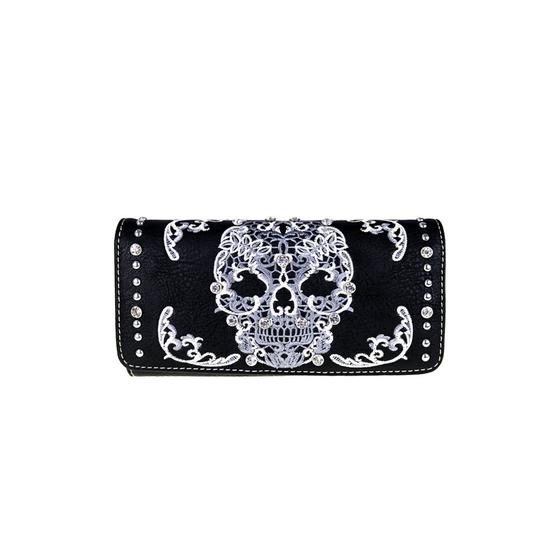 Montana West Black Leather Sugar Skull Collection Wallet Wristlet Image 0
