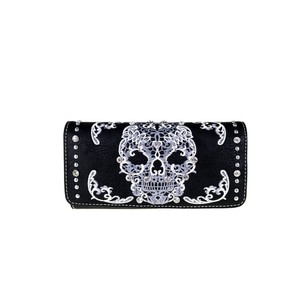 Montana West Black Leather Sugar Skull Collection Wallet Wristlet