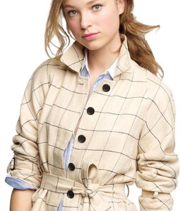 J.Crew Windowpane Trenchlet Linen Belted Belted Jacket
