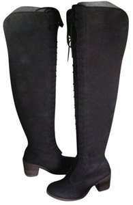 Lucky Brand Over The Knee Leather Lace Up Black Boots