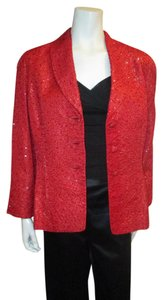 Badgley Mischka Silk Sequin Vintage Red Blazer