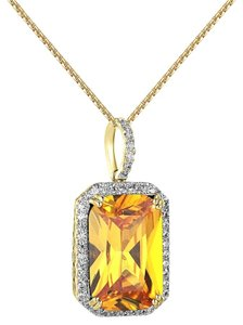 Other 14k Gold Plated Canary Ruby CZ Pendant Solitaire Lab Diamonds