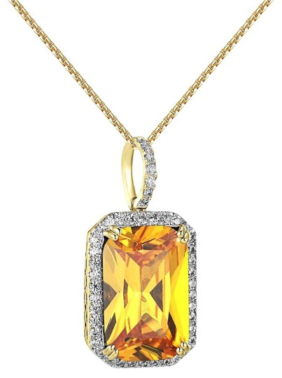 Other 14k Gold Plated Canary Ruby CZ Pendant Solitaire Lab Diamonds Image 0