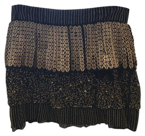 Alice + Olivia Beaded Embroidered Tiered Short Skirt Brown with Gold sequins