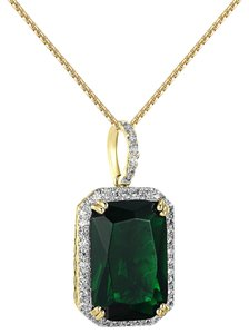 Other Solitaire Green Ruby CZ Pendant Iced Out 1.2