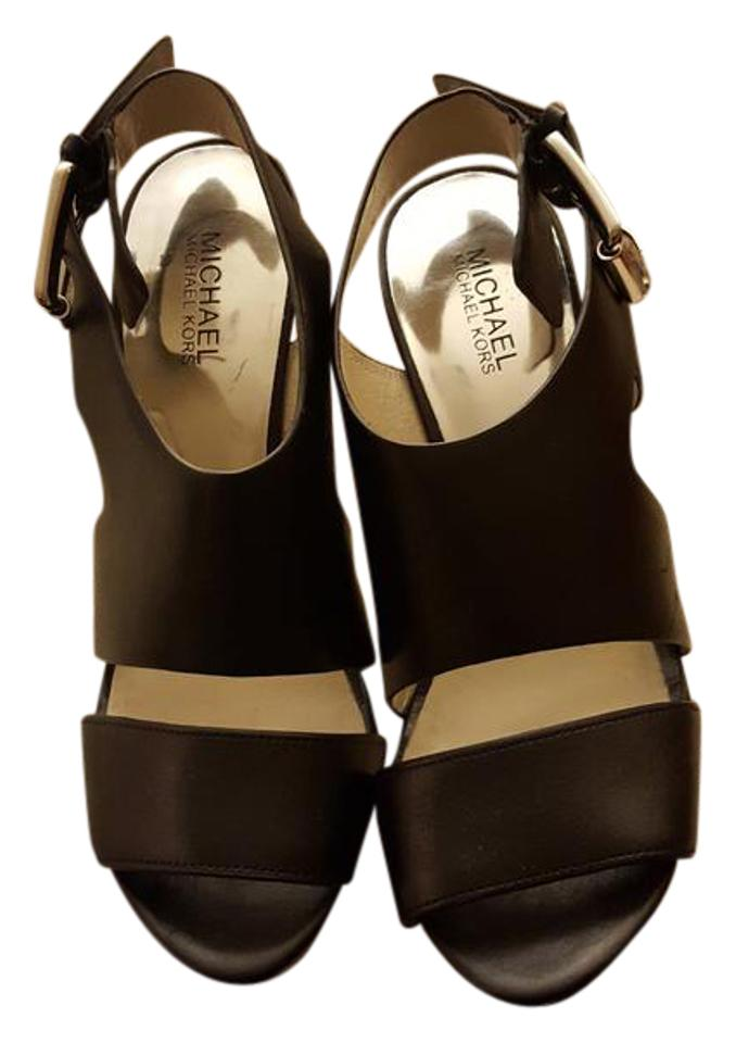 4da0f744f8d Michael Kors Black Leather Sandals with Chunky Heels Platforms Size ...