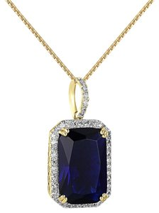 Other Blue Solitaire Ruby CZ Pendant 14k Gold Finish Lab Diamonds Free Chain