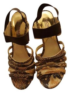Michael Kors Black Tan Faux Snakeskin Sandals