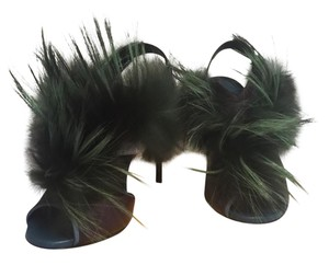 Fendi Green and Plum feathers, with a Plum, white and tan on sandal. Only 10 sold! Pumps