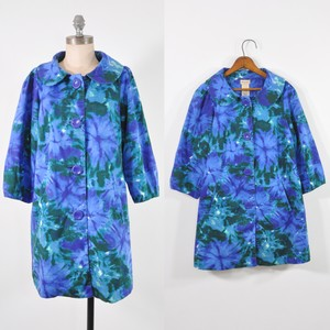 Anthropologie Kaledioscope Elevenses Blue Floral Floral Peter Pan Trench Coat