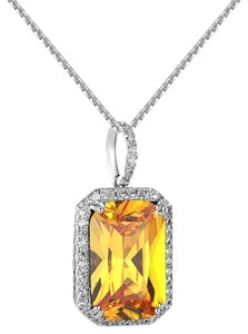 Other Iced Out Solitaire Canary Ruby CZ Pendant 1.2