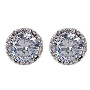 Halo CZ stud earrings 2.05 Carat brilliant Cut CZ Stone Halo Stud earrings studs earring