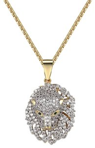 Other Panther Cheetah Iced Out Pendant Simulated Diamonds 14k Gold Finish