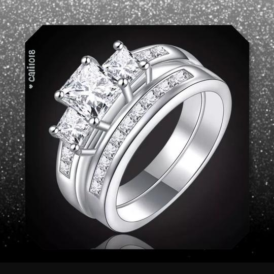 Other New 2pc Zircon White Gold Filled Ring Set Image 2