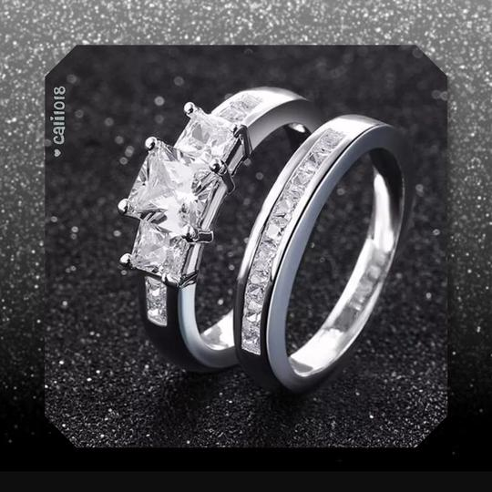 Other New 2pc Zircon White Gold Filled Ring Set Image 3