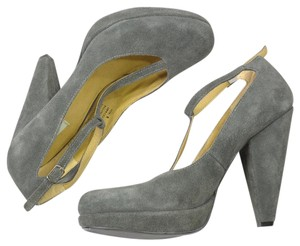 Urban Outfitters Suede Leather T-strap Pumps Gray Platforms