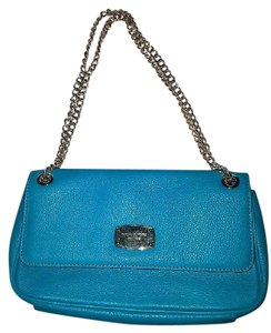 Michael Kors Leather Monogram Chain Satchel in Blue