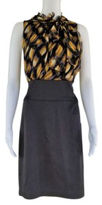 BCBGMAXAZRIA Black Silk Chiffon Bow Sheath Dress