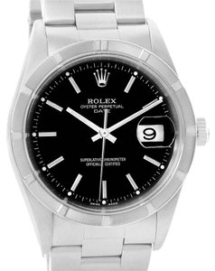 Rolex Rolex Date Black Dial Stainless Steel Mens Watch 15210 Box Papers