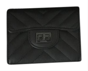 Chanel Brand New CHANEL Black Sheepskin Chevron Reissue Card Holder/Wallet