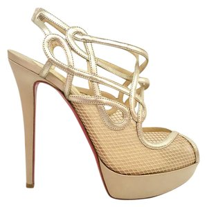 Christian Louboutin Satin Mesh Gold Platforms