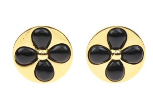 Chanel Chanel Vintage Gold Round Clover Earrings