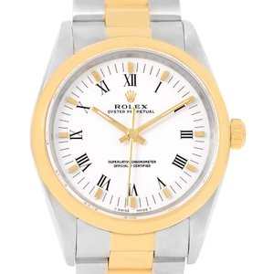 Rolex Rolex No Date Mens Stainless Steel Yellow Gold White Dial Watch 14203