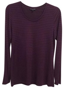 Eileen Fisher T Shirt Eggplant or plum color with tone on tone 1/4