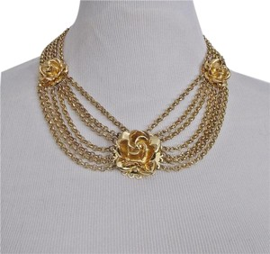 Tuleste Market Tuleste Market Rosette With Chains Necklace Choker 14k Gold Plated