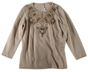 Oscar de la Renta Cashmere Beaded Sequin Sweater