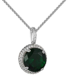 Other Round Green Ruby CZ Pendant 14k White Gold Finish Lab Diamonds 24 Inch