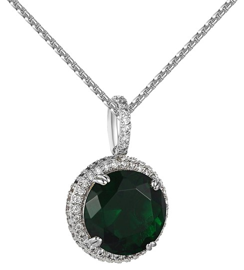 Other Round Green Ruby CZ Pendant 14k White Gold Finish Lab Diamonds 24 Inch Image 0