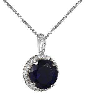 Other Blue Solitaire Ruby CZ Pendant Lab Diamonds Iced Out White Gold Finish