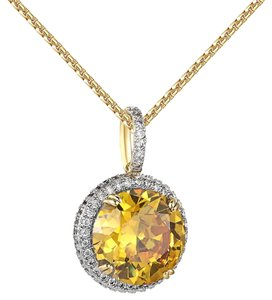 Other Canary Solitaire CZ Pendant Round Cut 14k Gold Finish Lab Diamonds 24